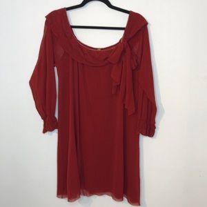 Jean Paul Gaultier Soleil rust chiffon dress